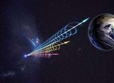 This artist's impression of a fast radio burst (FRB) reaching Earth illustrates the telltale smearing of radio waves that indicates the FRB's long journey through deep space. The colors represent different radio wavelengths, with longer (red) wavelengths arriving after shorter (blue) ones. This effect occurs when radio waves travel through plasma-rich regions of interstellar and intergalactic space. (2015)  Credit: Jingchuan Yu, Beijing Planetarium