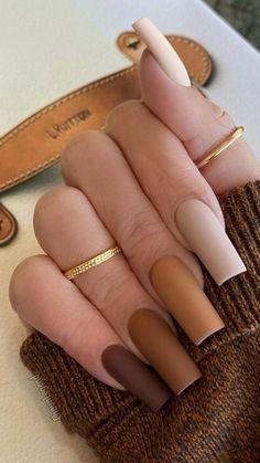 Brown Acrylic Nails, Bling Acrylic Nails, Square Acrylic Nails, Brown Nails, Best Acrylic Nails, Acrylic Nail Designs, Gel Nails, Fall Nail Designs, Acrylic Art