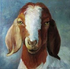 Farm Animal Painting, Spotted Goat, George, Farmhouse Chic, Stretched Canvas Painting by Cheri Wollenberg Goat Paintings, Animal Paintings, Sheep Paintings, Acrylic Paintings, Baby Animal Drawings, Animal Sketches, Goat Art, Boer Goats, Barnyard Animals