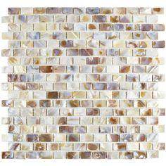 "EliteTile Shore 0.56"" x 0.88"" Seashell Mosaic Tile in Natural"