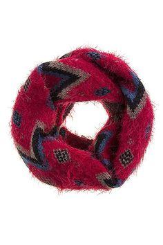 {Acrylic Fuzzy Knit Aztec Print Infinity Scarf}