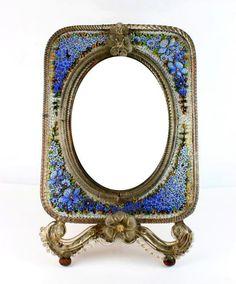 MURANO Venise, miroir à poser en mosaïque à décor de fleurs, le dos en acajou, estampillé, (Pauly &C), ht 41x27 (petits mques) - Le Calvez & Associés - 31/01/2015