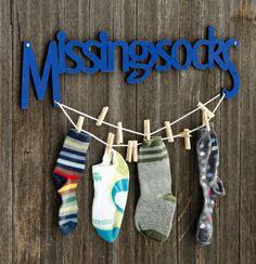 Missing Socks (laundry, organize, gift for mom, spring cleaning). $52.00, via Etsy.