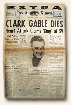 Today, 11-16 in 1960 was a sad day in filmdom - Clark Gable passed away - my mom and I both cried a few tears together over this one. The King was gone. The 'talk' of the day was his heart-attack was 'caused' by all of Marilyn Monroe's on-set delays during filming for The Misfits. More likely it was his long-time history of smoking that added to his early passing.