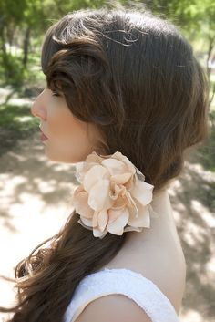 Blush wedding flower, bridal hair piece!  NEW bridal accessory collection is out on our Etsy now!  www.etsy.com/shop/handandheritage