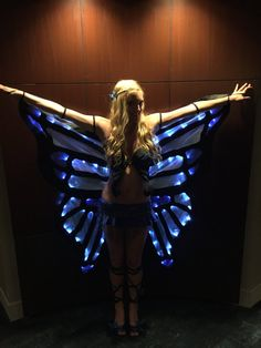 Get noticed at your next event with these cloak like butterfly wings! They are the perfect addition to any costume or festival wear. The LED