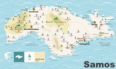 Samos tourist map Dream Vacation Spots, Vacation Resorts, Greece Vacation, Greece Travel, Samos Greece, Greece Culture, Tourist Map, Island Map, Voyage