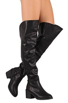 9d0ddbf41ea Bamboo Women s Louie Chunky Block Heel Zip Up Round Toe Over-The-Knee Boots