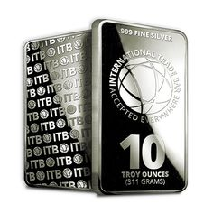 The 10 oz. International Trade Bar contains 10 Troy ounces of .999 fine silver. The International Trade Bullion (ITB) Silver Bars feature a unique design and are one of the most cost effective ways to add precious metal to your portfolio because of their low premium over spot price.