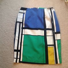 Worthington Color Block Pencil Skirt Size 4 New without tags. Tried on, never worn. Lined. Blue, green, yellow, black, and cream colors. No trades. Willing to bundle. Worthington Skirts Pencil