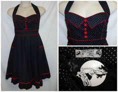 Hell Bunny Vixen Dress 4XL 4X 3X Polka Dot Sweetheart Rockabilly Red Trim Halter #HellBunny #TeaDress #SummerBeach