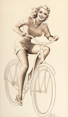 Merlin Enabnit (American, Riding a Bike circa bicycle art vintage pin-up Bicycle Safety, Bicycle Art, Bicycle Sketch, Velo Vintage, Vintage Bicycles, Bike Tattoos, Bicycle Women, Woman Illustration, Pin Up Art