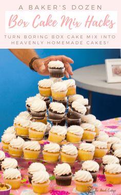 Box Cake Mix Hacks Turn Ordinary Into Bakery Quality Cakes - Photo Bomb 📷 Pudding Cake Mix, Pudding Cupcakes, Chocolate Box Cake, Super Moist Chocolate Cake, Mini Cupcake Recipes, Cake Mix Recipes, Cupcake Mix, Cupcake Cakes, Cake Mix Cupcakes