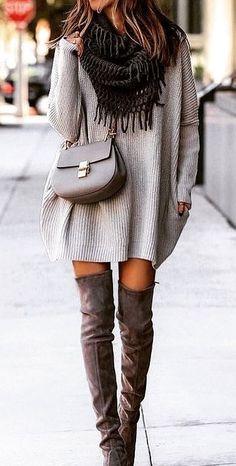 #winter #outfits gray saddle crossbody bag