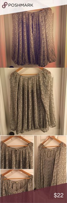 """HP 💛 LUCKY BRAND 🍀 Plus 2X Sheer Feminine Blouse 🍀 HOST PICK 12-13-16 - Everything Plus Size 🍀                                                                                                   This is a 2X blouse by LUCKY BRAND. It's a feminine sheer polyester blouse -- you'll need a cami underneath (all the photos are taken with a black cami underneath which is NOT included). Loose elastic at the bottom hem and wrists. Versatile tie neckline. Measures 27"""" pit-to-pit - so it's a nice…"""