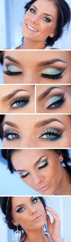 Mooi in de zomer, zeeblauwe oogschaduw