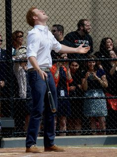 Awww... Prince Harry made good contact with his first two pitches, but by the looks of this moment, it wasn't good enough