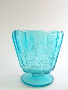 Vintage Bowl Turquoise Bowl Glass Bowl Footed by MustardDandelion