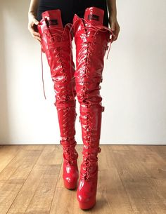 15cm Platform Laceup Crotch Half Zip Boots Goth Punk Pinup Harley Quinn Cosplay BDSM red thigh boots