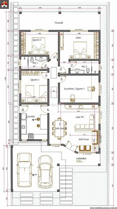 2 Bedroom House Plans, Duplex House Plans, Apartment Floor Plans, Bungalow House Plans, Family House Plans, Small House Plans, House Floor Plans, Single Storey House Plans, Square House Plans