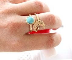 SALE  Moon and turqouse ring Gold Plated  set of by anthology27