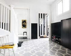 Moroccan cement tile entryway floor in charcoal grey.... & color insperation: White withe a little of Grey,Yelow,Black
