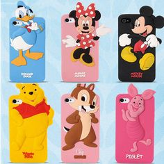Cute Cartoon Animal Minnie Winnie Silicone Soft Case Cover for iPhone Samsung Iphone 4 Cases, Unique Iphone Cases, 5s Cases, Disney Duck, Cute Disney, Phone Shop, Cute Cartoon Animals, Mickey Minnie Mouse, Disney Cartoons