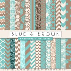 Blue and Brown Digital Paper. Digital brown by LaBoutiqueDeiColori