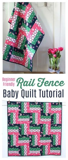 Beginner Friendly Rail Fence Baby Quilt tutorial