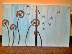 Dandelion Canvas Painting by TheEsperanzaShoppe on Etsy, $20.00