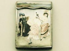 Antique French Silver and Erotic Enamel Vesta Case (c. 1880 France)