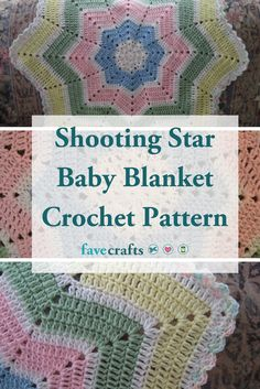 This Shooting Star Baby Blanket Crochet Pattern is a star baby blanket perfect for boys and girls alike! It has beautiful colors and many points. Crochet Star Blanket, Crochet Star Patterns, Star Baby Blanket, Crochet Baby Blanket Beginner, Crochet Baby Blanket Free Pattern, Vintage Crochet Patterns, Crochet Stars, Baby Patterns, Free Crochet