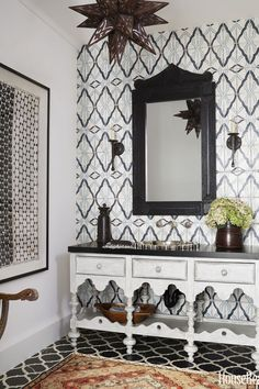 Many Tile Choices - This Los Angeles powder room by designer Betsy Burnham features Ann Sacks's went for a mix of tile and didn't hold back. See more bathroom ideas at HouseBeautiful.com.
