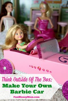 Want a fun rainy day activity for the kids?  Gather up your craft supplies and make a cute Barbie car!  #ad