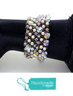 Crystal and pearl crochet bracelet BR1074 from Nazo Design https://www.amazon.com/dp/B01H05DEF0/ref=hnd_sw_r_pi_dp_aOS7xbBNH1B5Q #handmadeatamazon
