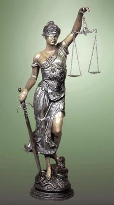 Themis is patron goddess of justice. She is usually pictured blindfolded, holding scales in one hand and her sword in the other.