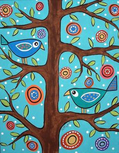 Birds in Trees - Karla Gerard Silk Painting, Painting & Drawing, Karla Gerard, Art Populaire, Naive Art, Whimsical Art, Art Plastique, Tree Art, Bird Art