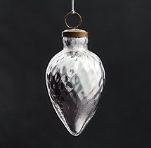 Vintage Hand-Blown Glass Ornament Spindle - Silver