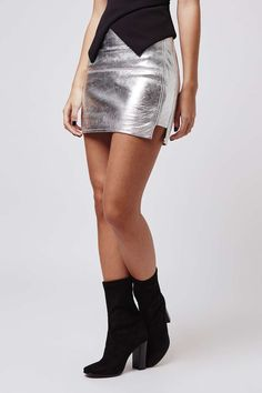 Metallic silver leather skirt