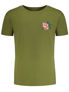AD : Short Sleeve Floral Embroidered Tee - ARMY GREEN Style: Casual Material: Cotton,Spandex Sleeves Length: Short Collar: Round Collar Decoration: Embroidery Pattern Type: Floral Weight: 0.2500kg Package: 1 x Tee