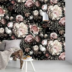 Dark Floral II Black Saturated Sample - Floral Wallpaper Samples - by Ellie Cashman Design Black Floral Wallpaper, Bold Wallpaper, Interior Wallpaper, Wallpaper Samples, Pattern Wallpaper, Floral Wallpapers, Rose Pastel, Bedroom Decor, Wall Decor