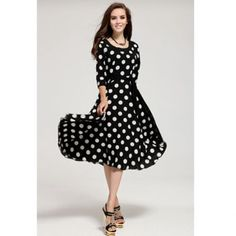 3/4 Sleeves Scoop Neck Waistband Beam Waist Polka Dot Pattern Ruffles Ladylike Women's Dress, BLACK, L in Chiffon Dresses | DressLily.com