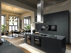 Its Sunday Evening - And I decided to share my collection of gray kitchens with . Its Sunday Evening - And I decided to share my collection of gray kitchens with you Even though the trend is to darker kitchen and flat surface tops I. Kitchen Decor, Kitchen Design Color, Home Kitchens, Grey Kitchens, Modern Kitchen, Furniture Hacks, Black Kitchens, Miele Kitchen, Big Kitchen