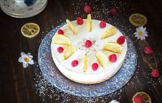 Rustic Easter lemon raspberry rare cheesecake