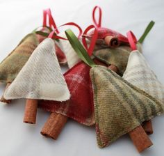 Christmas Holiday Decoration - Tweed Christmas Trees - Filled with Cloves and a Cinnamon Stick, Christmas Decoration, Christmas Tree Christmas Tree With Gifts, Christmas Makes, Noel Christmas, Homemade Christmas, Rustic Christmas, Diy Christmas Tree Decorations, Country Christmas Crafts, Old Fashioned Christmas Decorations, Christmas Tree Garland