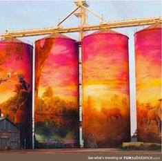 Painted grain silos in Australia - FunSubstance Murals Street Art, Graffiti Murals, Street Art Graffiti, Wall Murals, Grain Silo, Building Art, Australian Art, Water Tower, Photos Of The Week