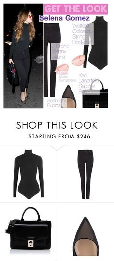 """Get The Look : Selena Gomez"" by tasnime-ben ❤ liked on Polyvore featuring Wolford, J Brand and Karl Lagerfeld"