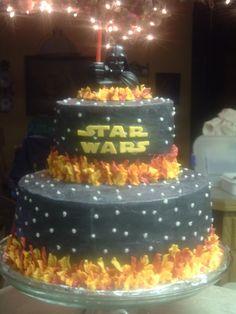 Caleb's Star Wars cake- I like  the darth vader un the top.
