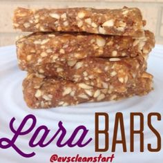 """Ripped Recipes - Homemade """"Lara Bars"""" - The perfect energy bar - all natural, raw, unprocessed, unsweetened... and totally delicious! Only 4 ingredients, and takes minute to make!"""