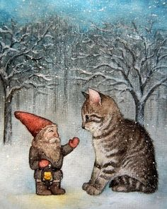 I wish you a warm christmas by artist ~moussee Illustration Noel, Illustrations, Image Chat, Elves And Fairies, Christmas Gnome, Fairy Art, Cat Art, Troll, Folk Art
